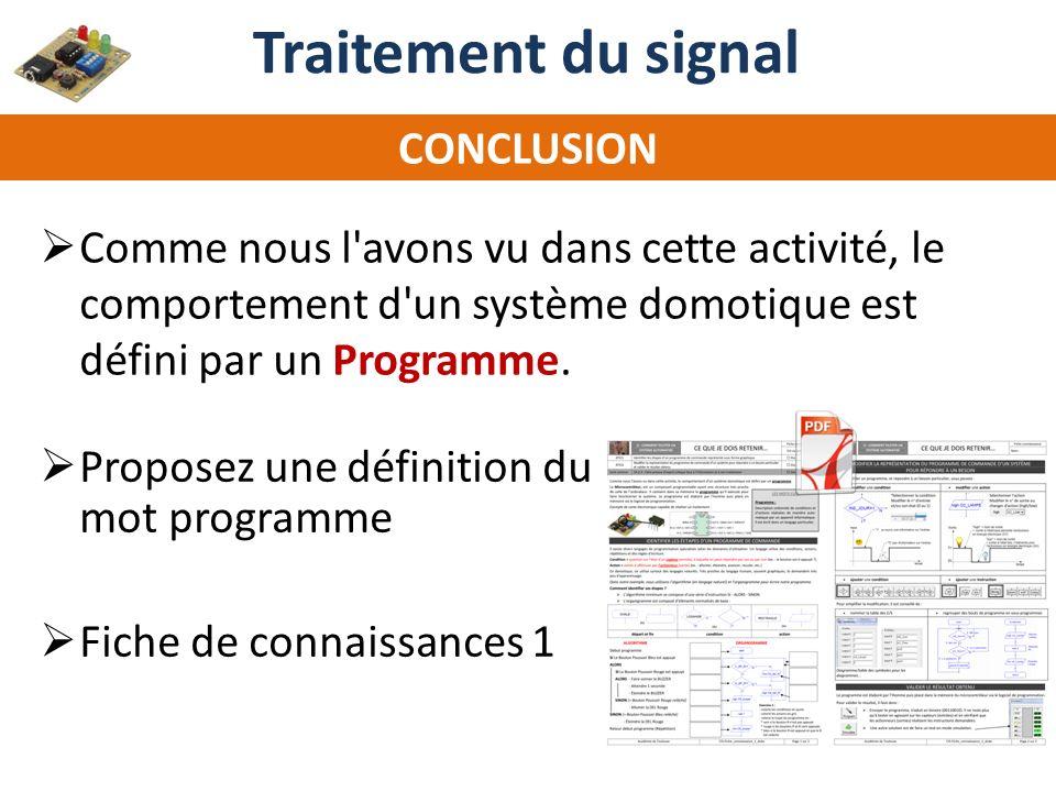 Traitement du signal CONCLUSION