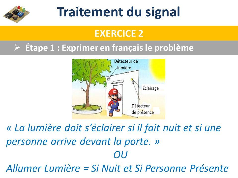 Traitement du signal EXERCICE 2. Étape 1 : Exprimer en français le problème.