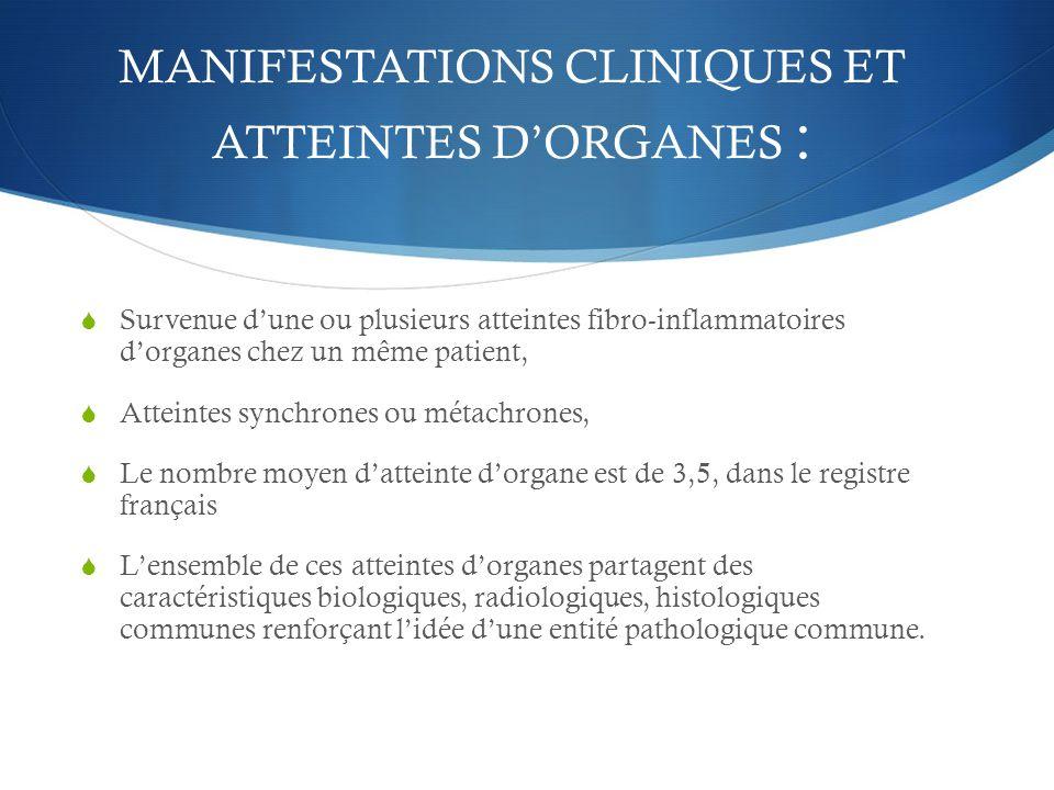 MANIFESTATIONS CLINIQUES ET ATTEINTES D'ORGANES :