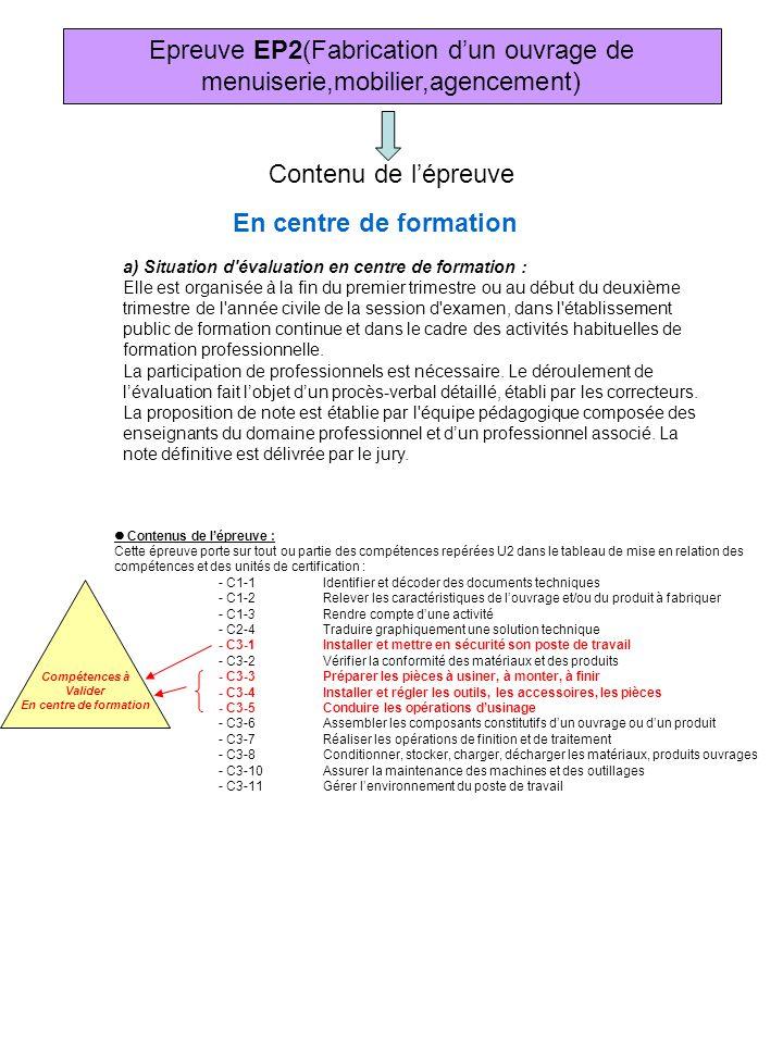 Epreuve EP2(Fabrication d'un ouvrage de menuiserie,mobilier,agencement)