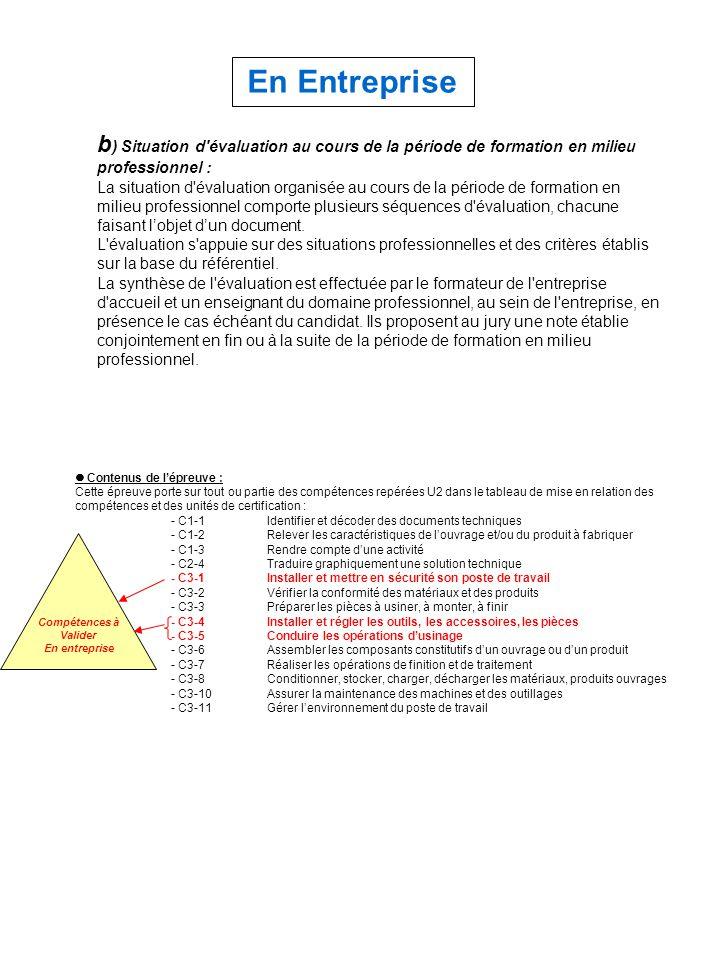 En Entreprise b) Situation d évaluation au cours de la période de formation en milieu professionnel :