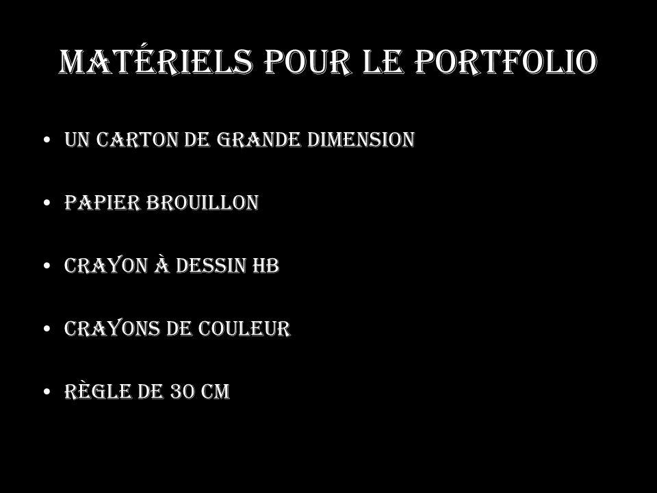 Matériels pour le portfolio