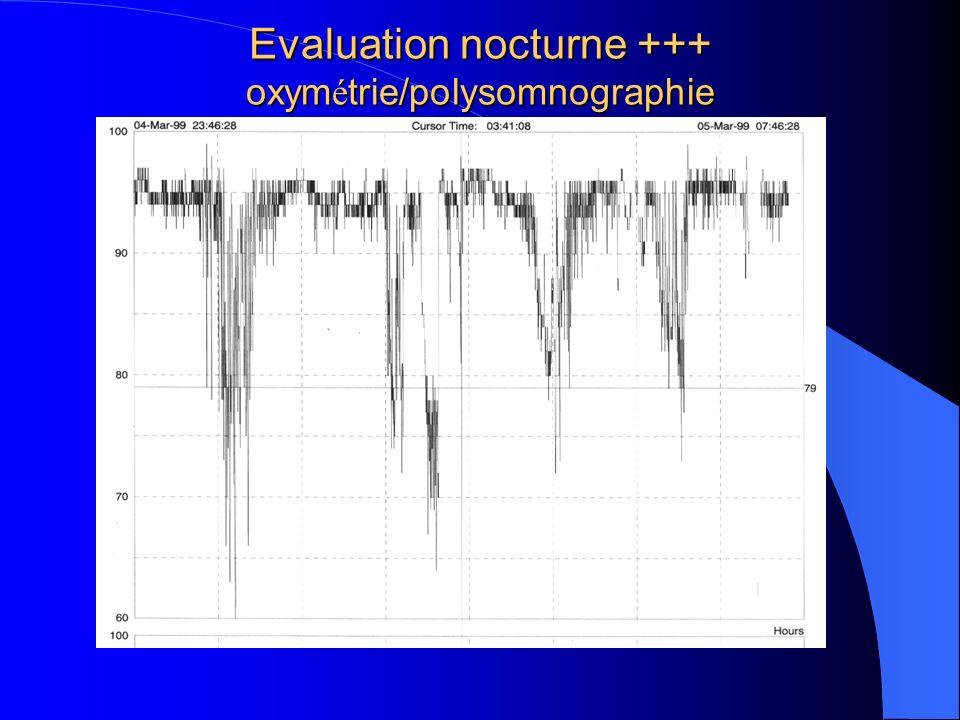Evaluation nocturne +++ oxymétrie/polysomnographie