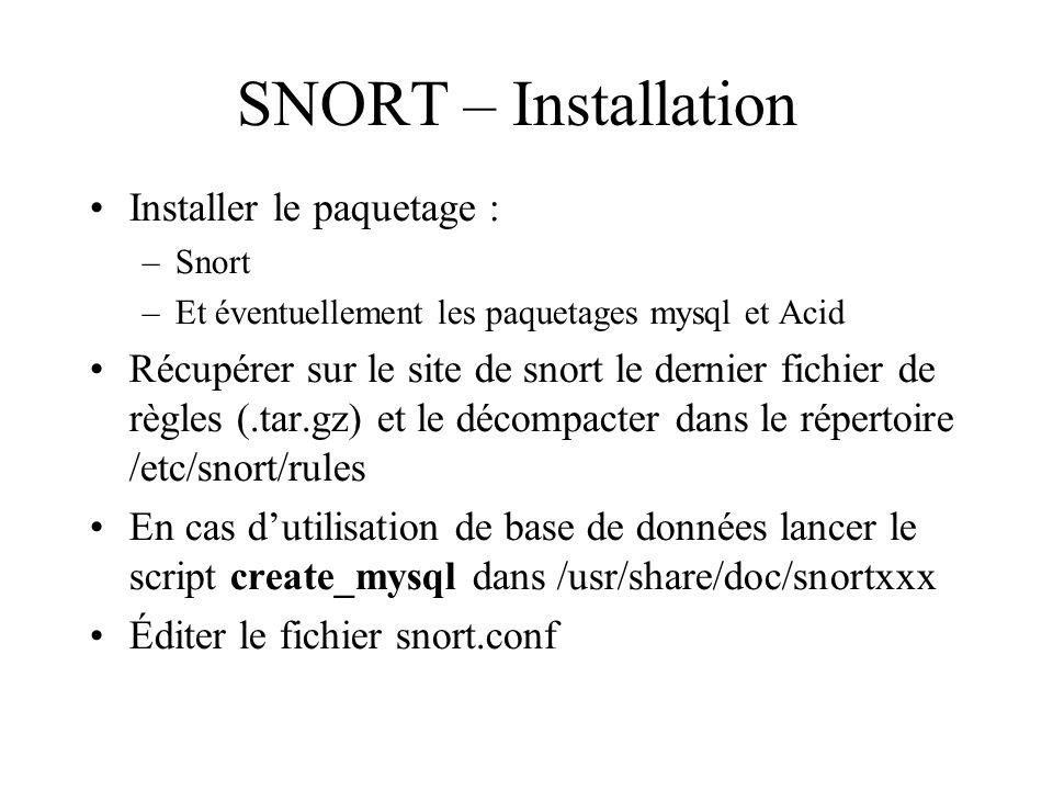 SNORT – Installation Installer le paquetage :