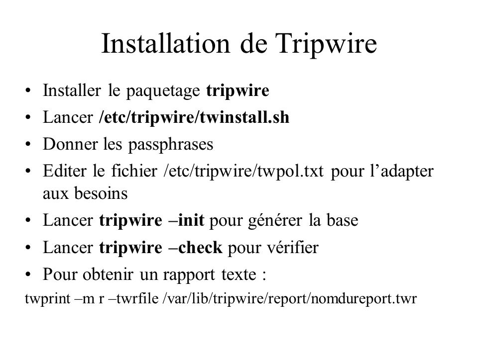Installation de Tripwire