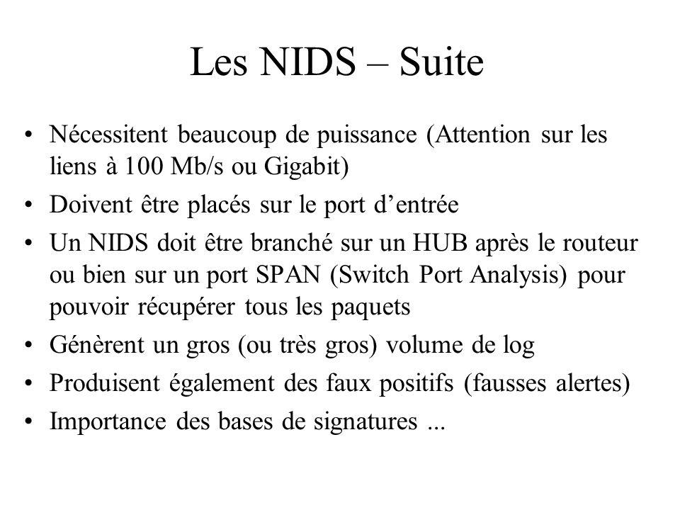Les NIDS – Suite Nécessitent beaucoup de puissance (Attention sur les liens à 100 Mb/s ou Gigabit)