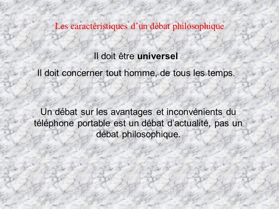 Les caractéristiques d'un débat philosophique