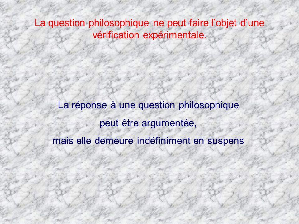 La réponse à une question philosophique peut être argumentée,