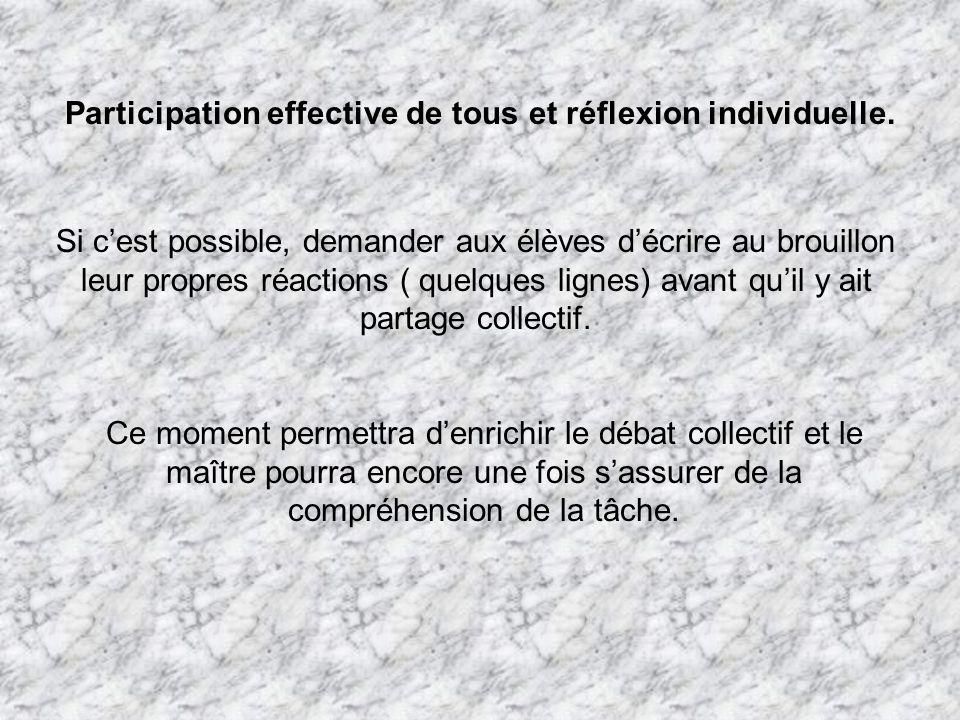 Participation effective de tous et réflexion individuelle.