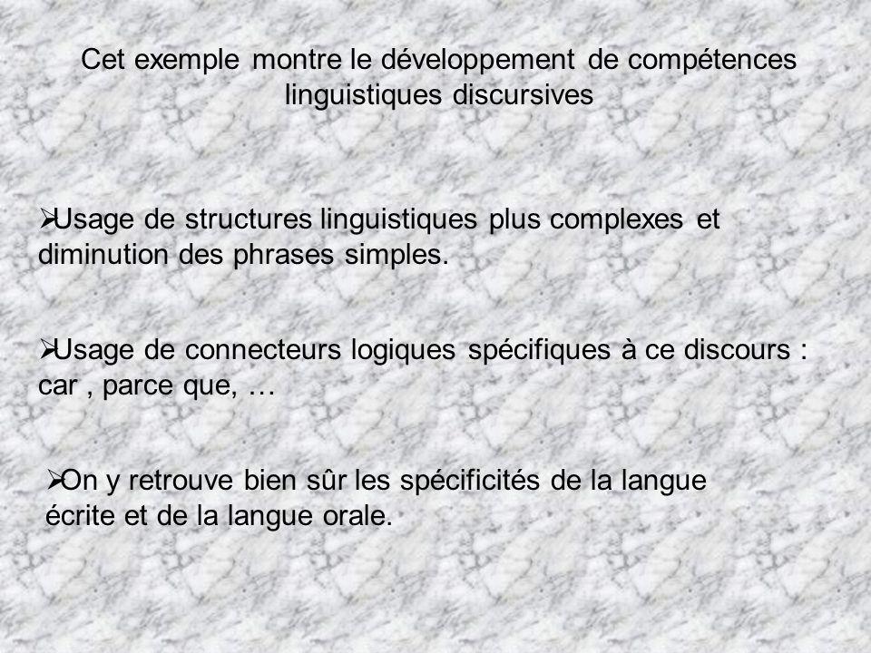 Cet exemple montre le développement de compétences linguistiques discursives
