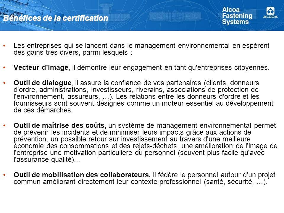 Bénéfices de la certification