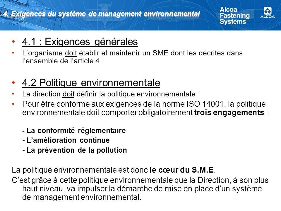 4. Exigences du système de management environnemental