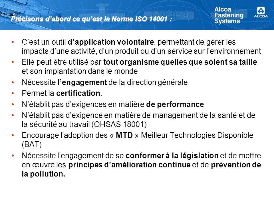 Précisons d'abord ce qu'est la Norme ISO 14001 :