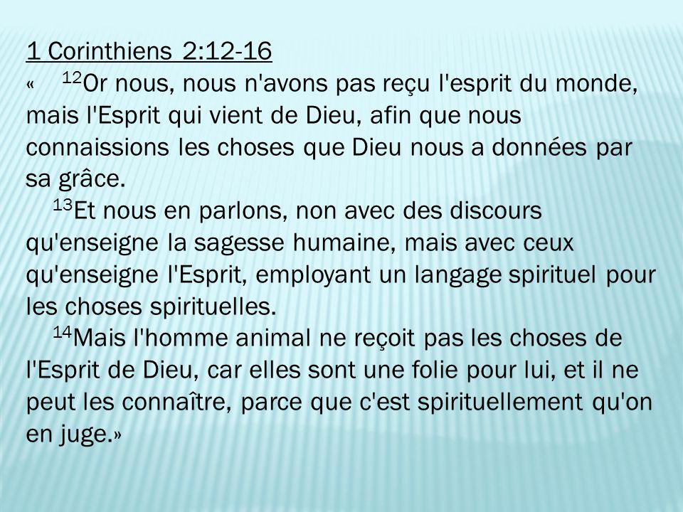 1 Corinthiens 2:12-16