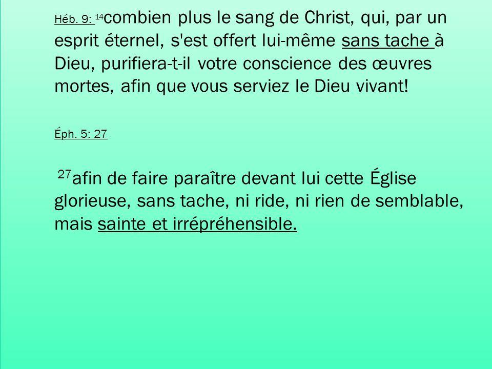 Héb. 9: 14combien plus le sang de Christ, qui, par un