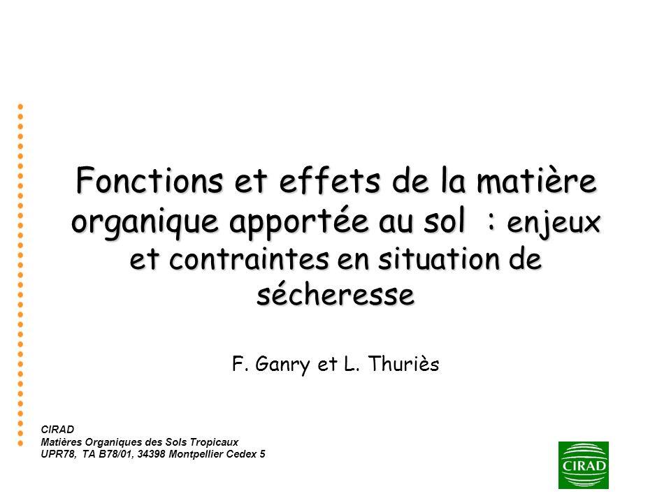 Fonctions et effets de la matière organique apportée au sol : enjeux et contraintes en situation de sécheresse F. Ganry et L. Thuriès