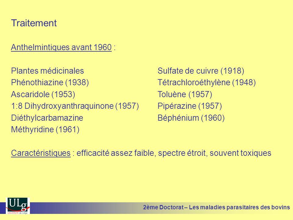 Traitement Anthelmintiques avant 1960 :