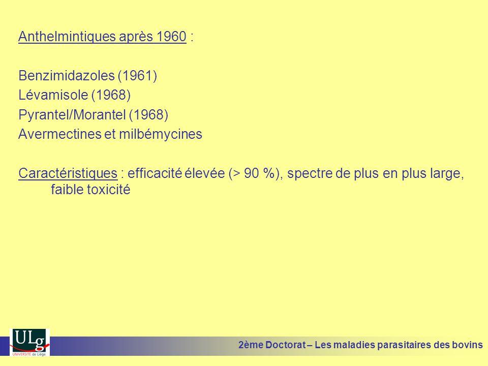 Anthelmintiques après 1960 : Benzimidazoles (1961) Lévamisole (1968)