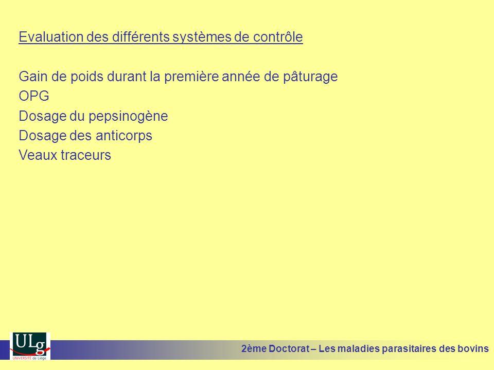 Evaluation des différents systèmes de contrôle