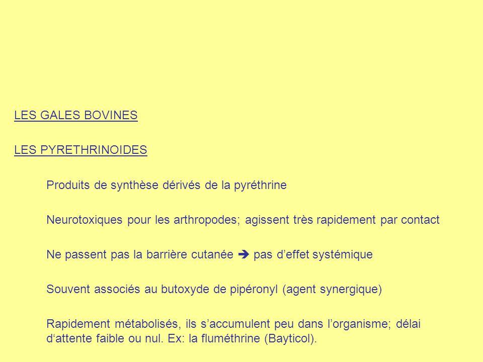 LES GALES BOVINES LES PYRETHRINOIDES. Produits de synthèse dérivés de la pyréthrine.