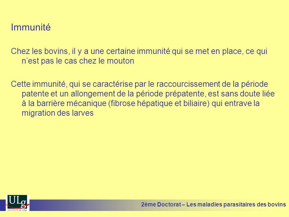 Immunité Chez les bovins, il y a une certaine immunité qui se met en place, ce qui n'est pas le cas chez le mouton.