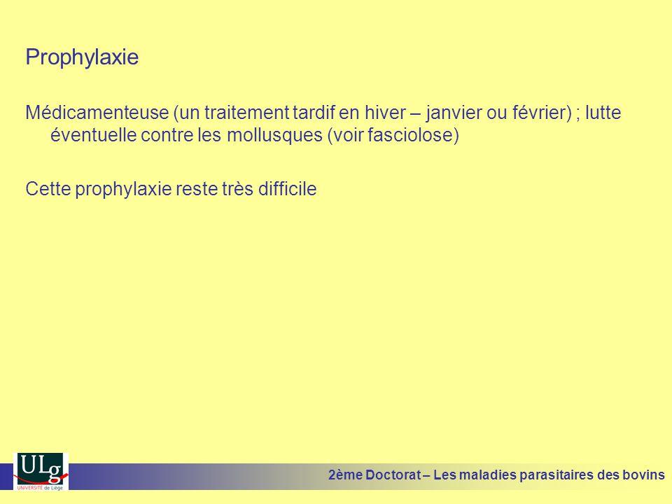 Prophylaxie Médicamenteuse (un traitement tardif en hiver – janvier ou février) ; lutte éventuelle contre les mollusques (voir fasciolose)