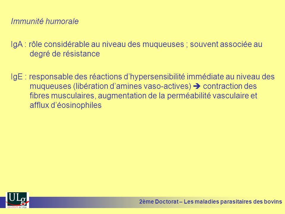 Immunité humorale IgA : rôle considérable au niveau des muqueuses ; souvent associée au degré de résistance.