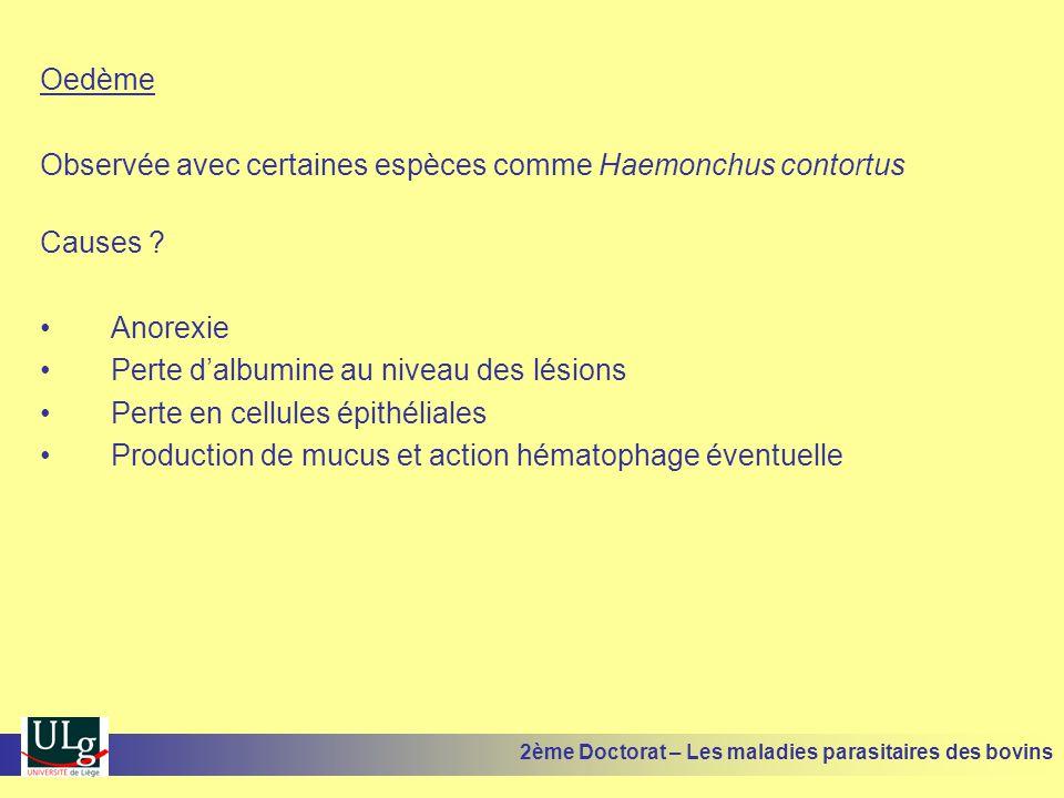 Observée avec certaines espèces comme Haemonchus contortus Causes