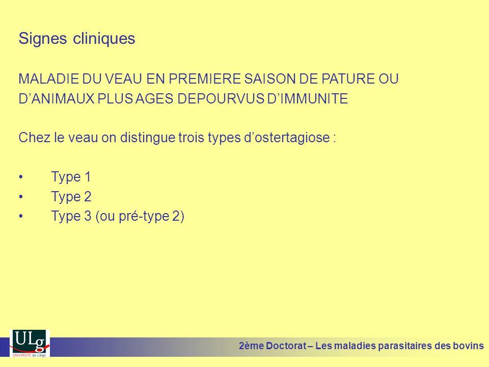 Signes cliniques MALADIE DU VEAU EN PREMIERE SAISON DE PATURE OU
