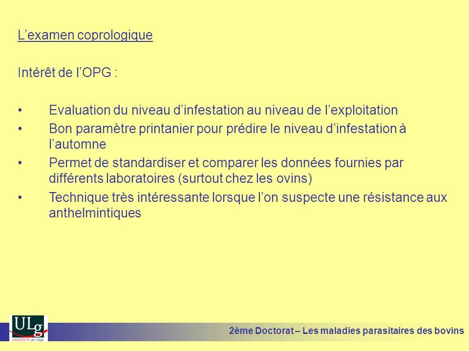 L'examen coprologique Intérêt de l'OPG :