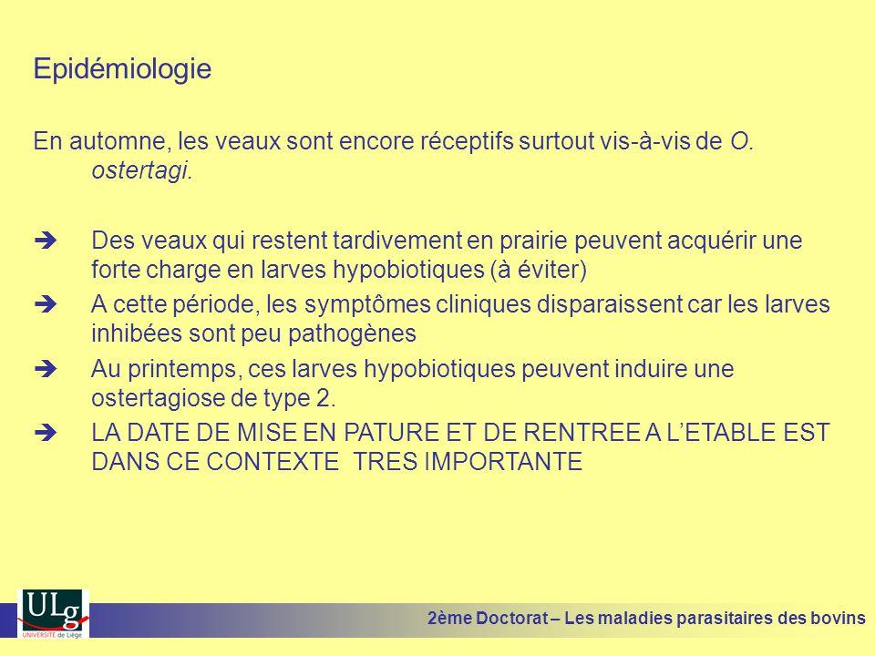 Epidémiologie En automne, les veaux sont encore réceptifs surtout vis-à-vis de O. ostertagi.