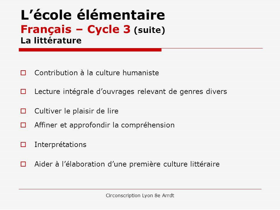L'école élémentaire Français – Cycle 3 (suite) La littérature