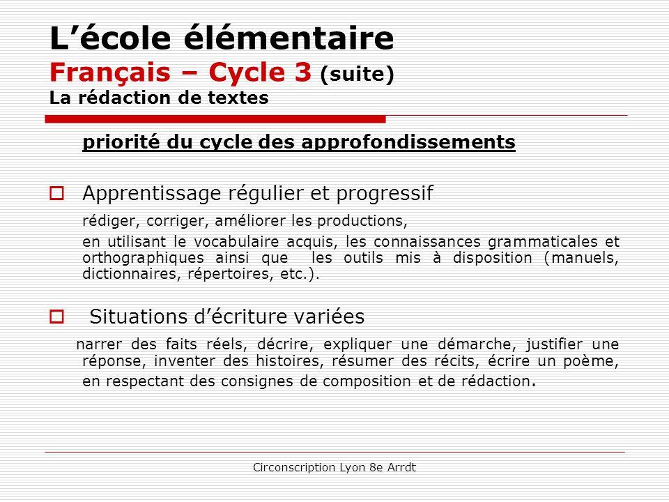 L'école élémentaire Français – Cycle 3 (suite) La rédaction de textes