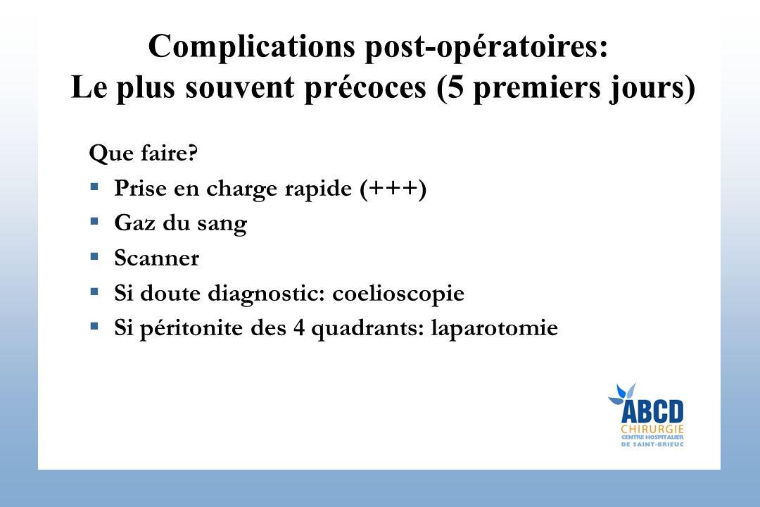 Complications post-opératoires:
