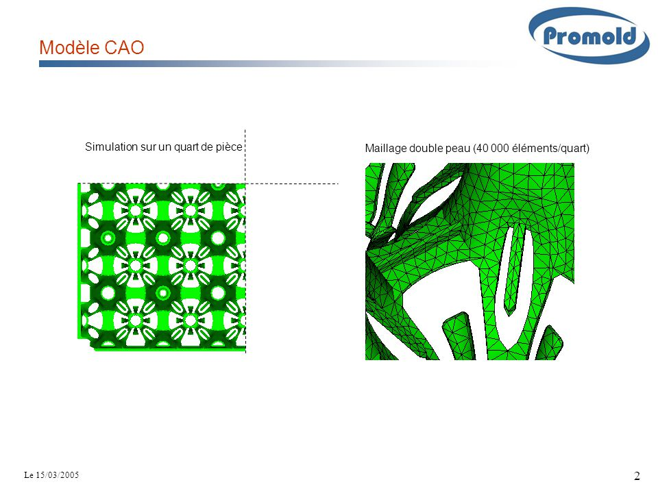 Modèle CAO Simulation sur un quart de pièce