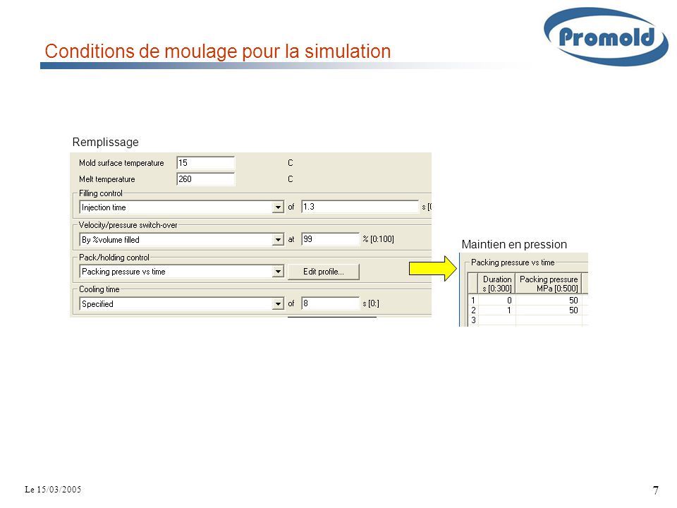 Conditions de moulage pour la simulation