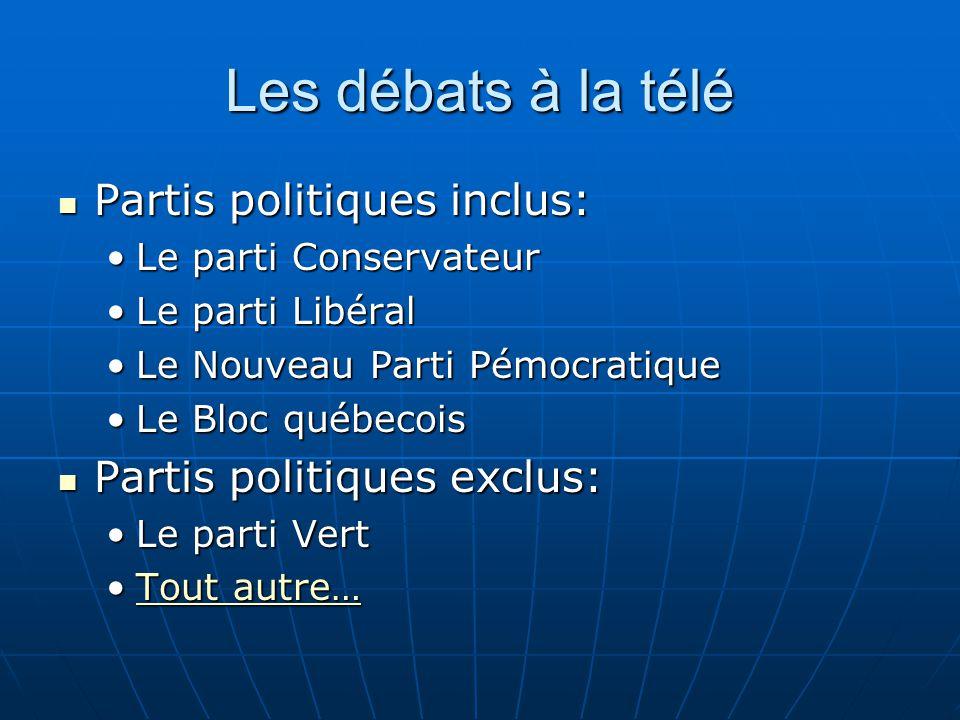 Les débats à la télé Partis politiques inclus: