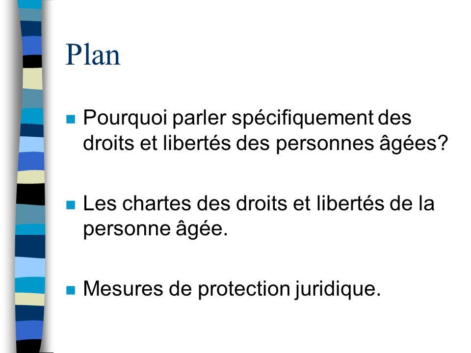 Plan Pourquoi parler spécifiquement des droits et libertés des personnes âgées Les chartes des droits et libertés de la personne âgée.