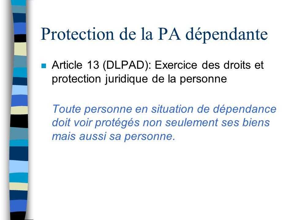 Protection de la PA dépendante
