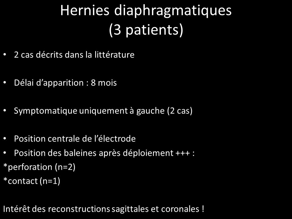 Hernies diaphragmatiques (3 patients)
