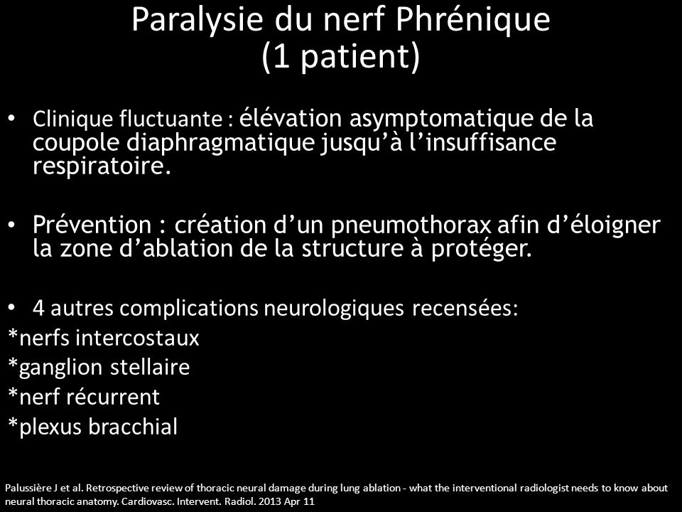 Paralysie du nerf Phrénique (1 patient)