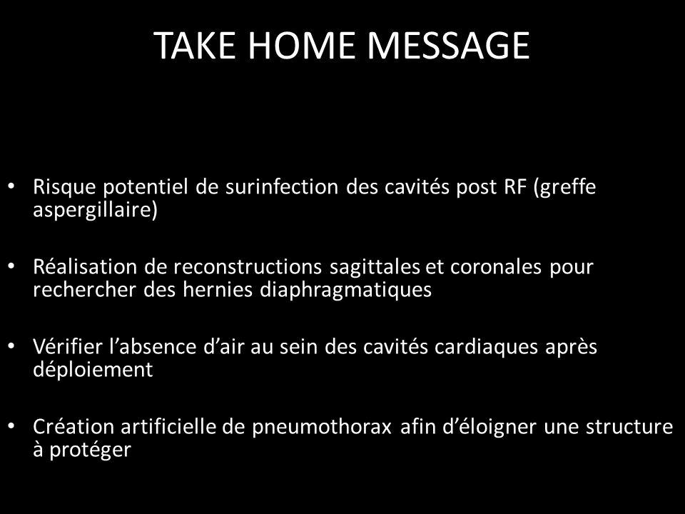 TAKE HOME MESSAGE Risque potentiel de surinfection des cavités post RF (greffe aspergillaire)