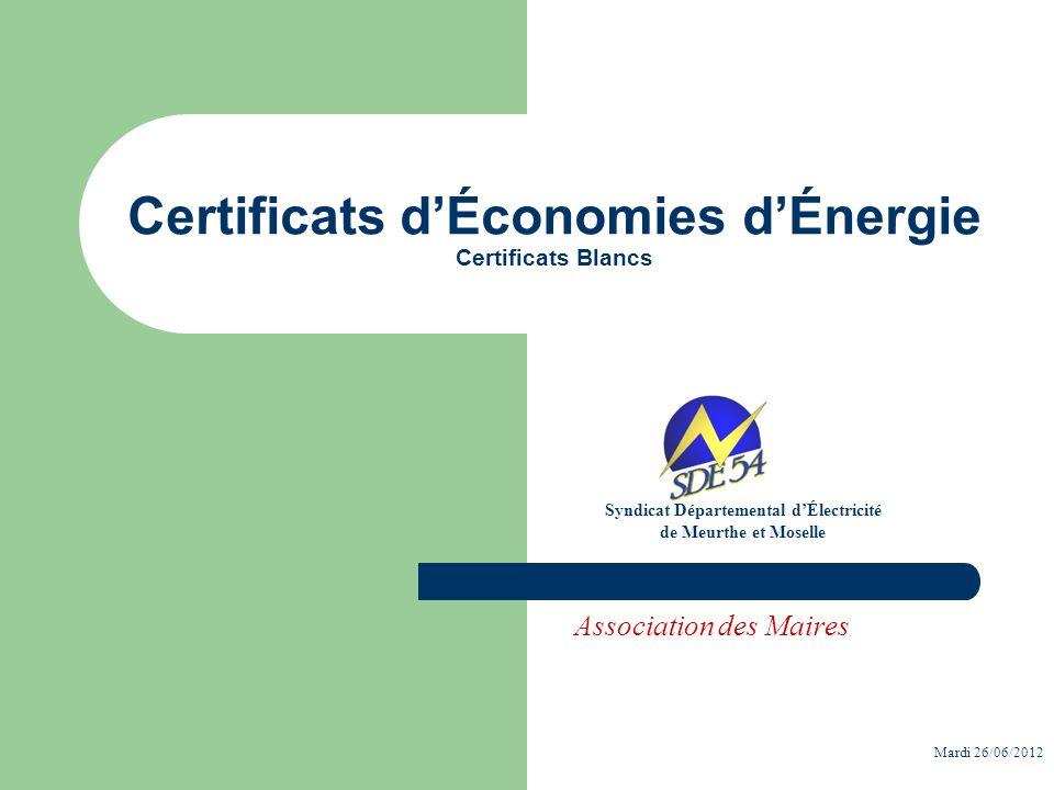 Certificats d'Économies d'Énergie Certificats Blancs
