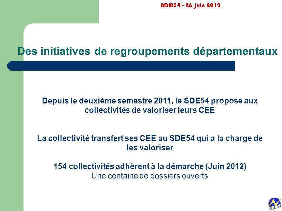 Des initiatives de regroupements départementaux