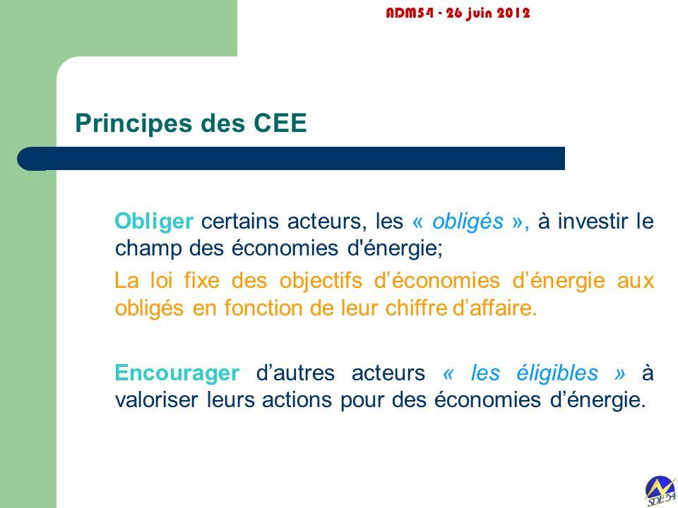 ADM54 - 26 juin 2012 Principes des CEE. Obliger certains acteurs, les « obligés », à investir le champ des économies d énergie;