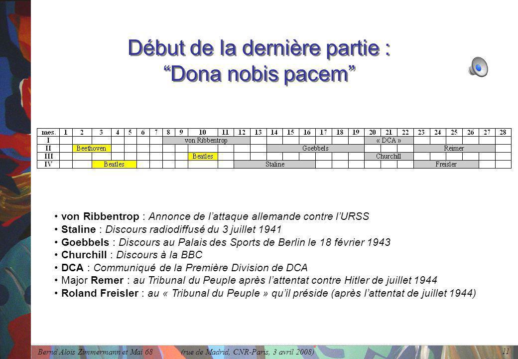 Début de la dernière partie : Dona nobis pacem