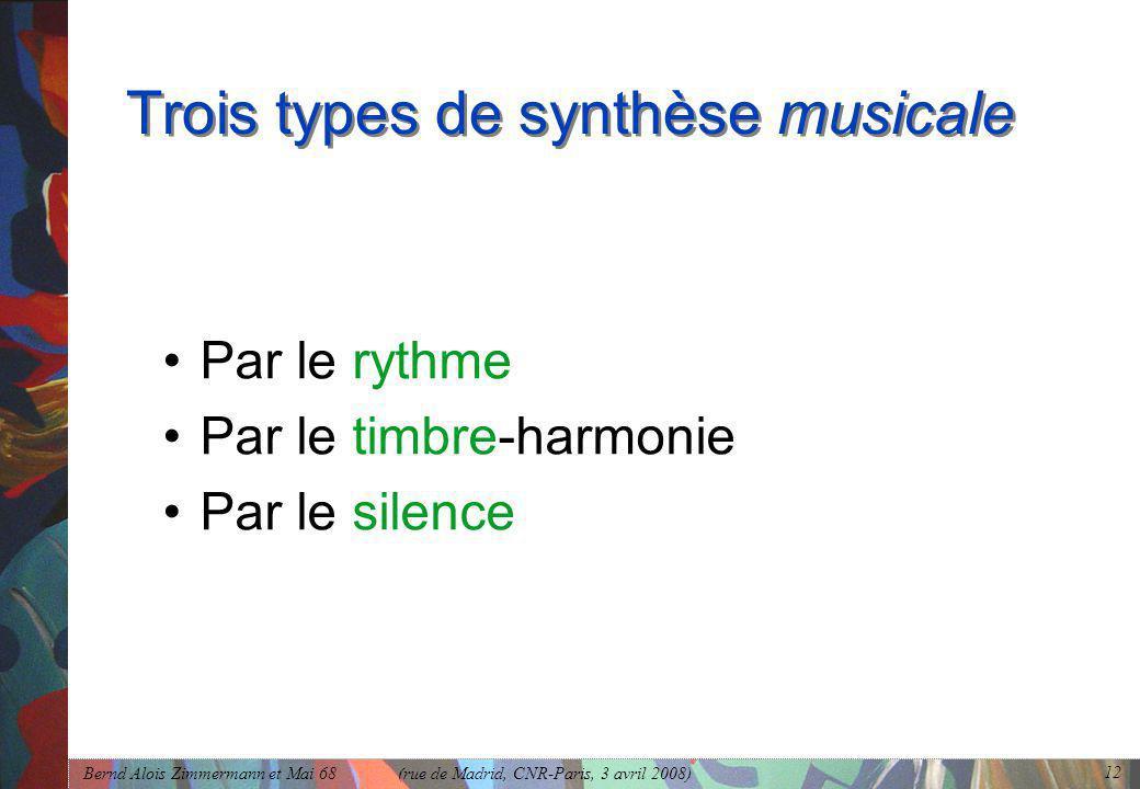 Trois types de synthèse musicale