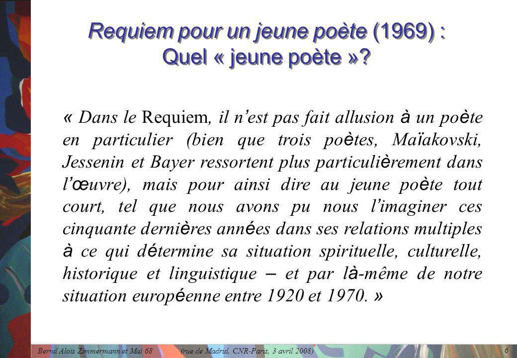Requiem pour un jeune poète (1969) : Quel « jeune poète »