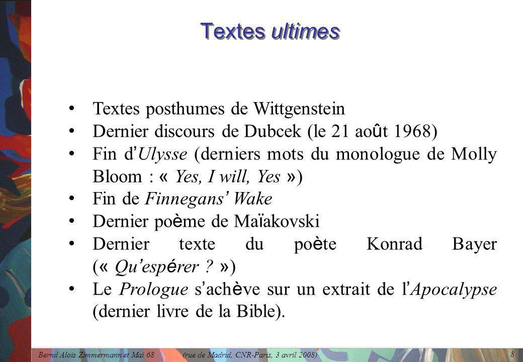 Textes ultimes Textes posthumes de Wittgenstein
