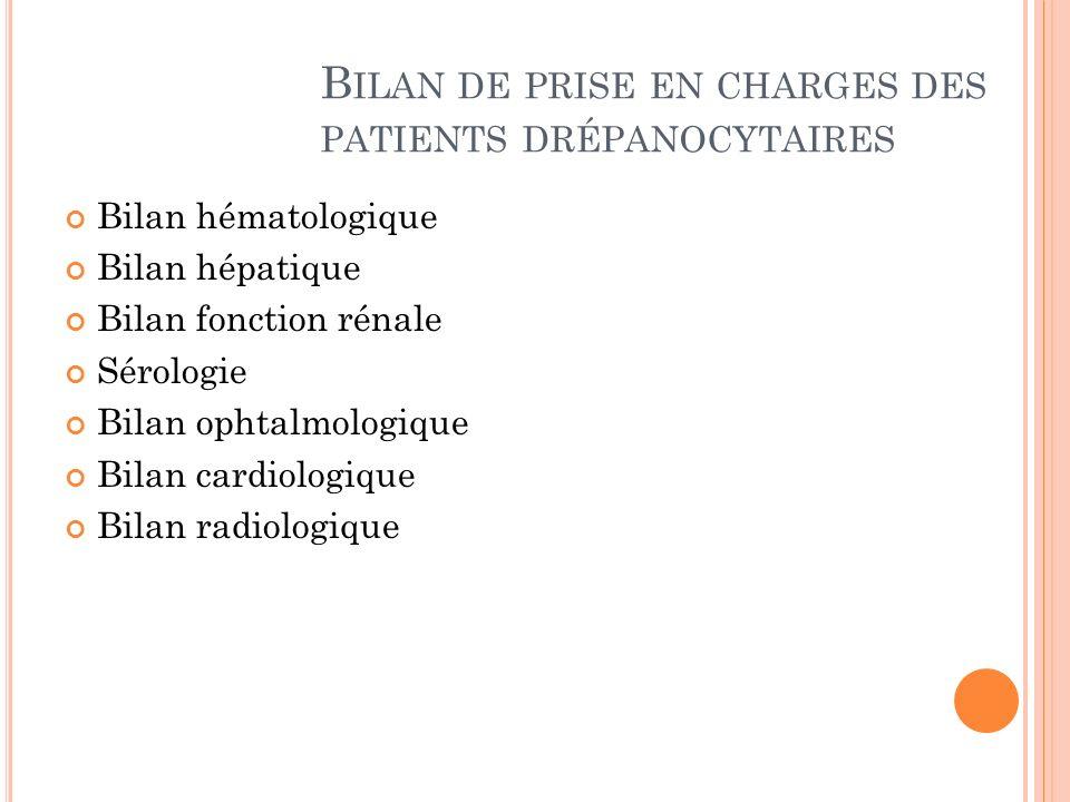 Bilan de prise en charges des patients drépanocytaires